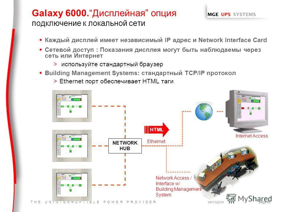 T H E U N I N T E R R U P T I B L E P O W E R P R O V I D E R04/11/2014page 80 Galaxy 6000. Дисплейная опция подключение к локальной сети w Каждый дисплей имеет независимый IP адрес и Network Interface Card w Сетевой доступ : Показания дисплея могут