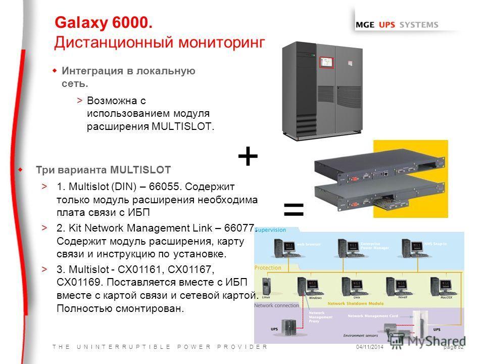 T H E U N I N T E R R U P T I B L E P O W E R P R O V I D E R04/11/2014page 82 Galaxy 6000. Дистанционный мониторинг w Интеграция в локальную сеть. >Возможна с использованием модуля расширения MULTISLOT. + = = w Три варианта MULTISLOT >1. Multislot (
