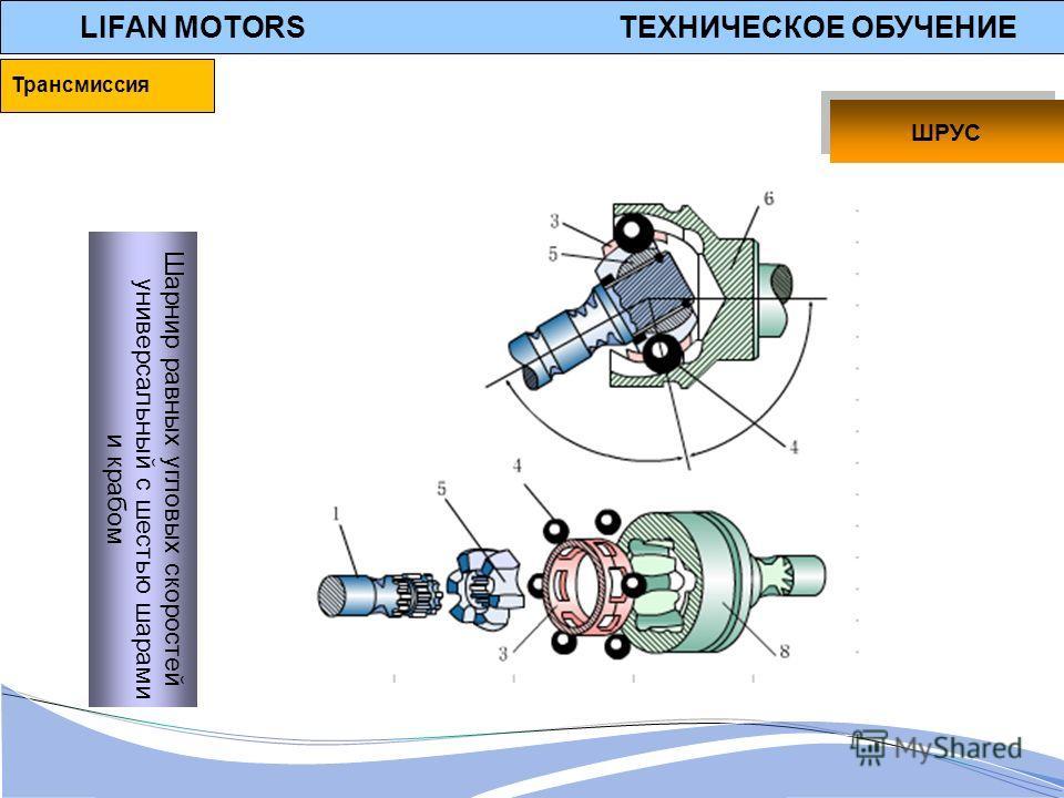 LIFAN MOTORS ТЕХНИЧЕСКОЕ ОБУЧЕНИЕ Шарнир равных угловых скоростей универсальный с шестью шарами и крабом ШРУС Трансмиссия