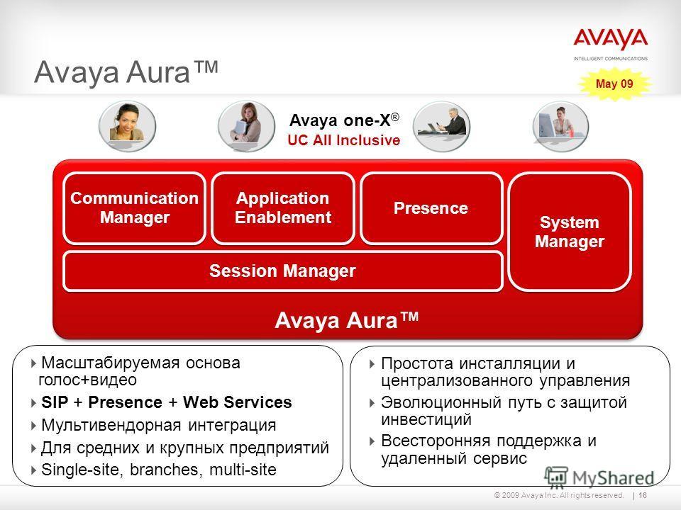 16© 2009 Avaya Inc. All rights reserved. System Manager Session Manager Application Enablement Presence Communication Manager Avaya Aura Масштабируемая основа голос+видео SIP + Presence + Web Services Мультивендорная интеграция Для средних и крупных