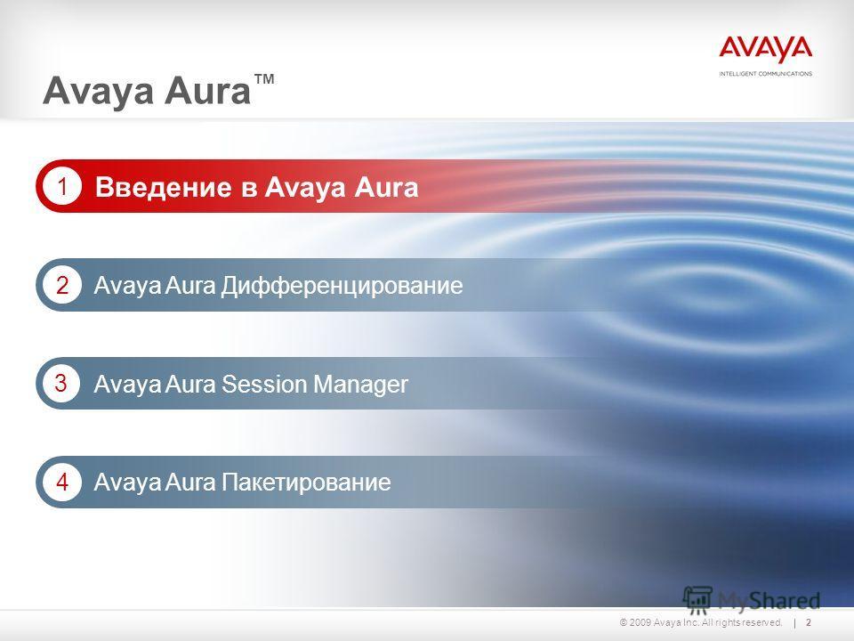 2© 2009 Avaya Inc. All rights reserved. Avaya Aura Дифференцирование 2 Avaya Aura Session Manager 3 Avaya Aura Введение в Avaya Aura 1 Avaya Aura Пакетирование 4