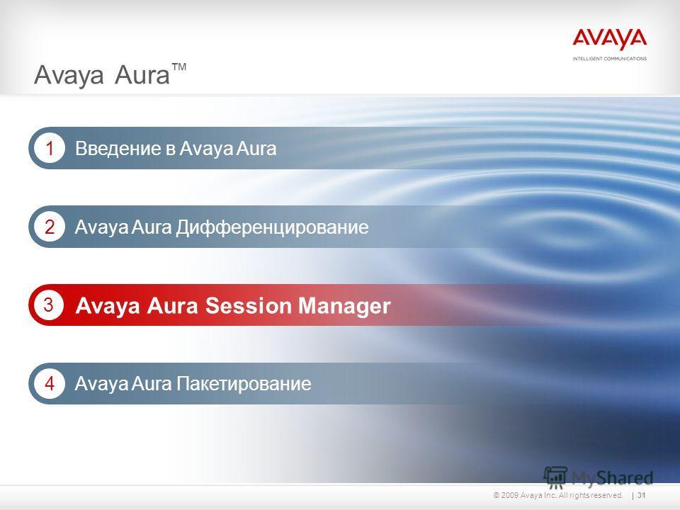 31© 2009 Avaya Inc. All rights reserved. Avaya Aura Дифференцирование 2 Avaya Aura Session Manager 3 Avaya Aura Введение в Avaya Aura 1 Avaya Aura Пакетирование 4
