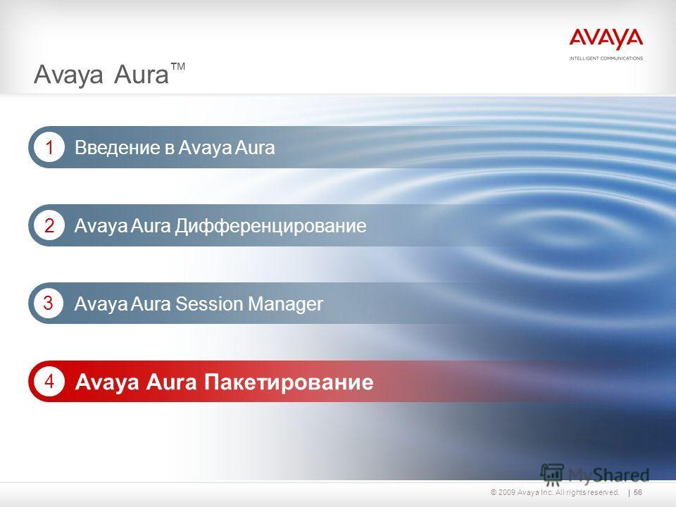 56© 2009 Avaya Inc. All rights reserved. Avaya Aura Дифференцирование 2 Avaya Aura Session Manager 3 Avaya Aura Введение в Avaya Aura 1 Avaya Aura Пакетирование 4