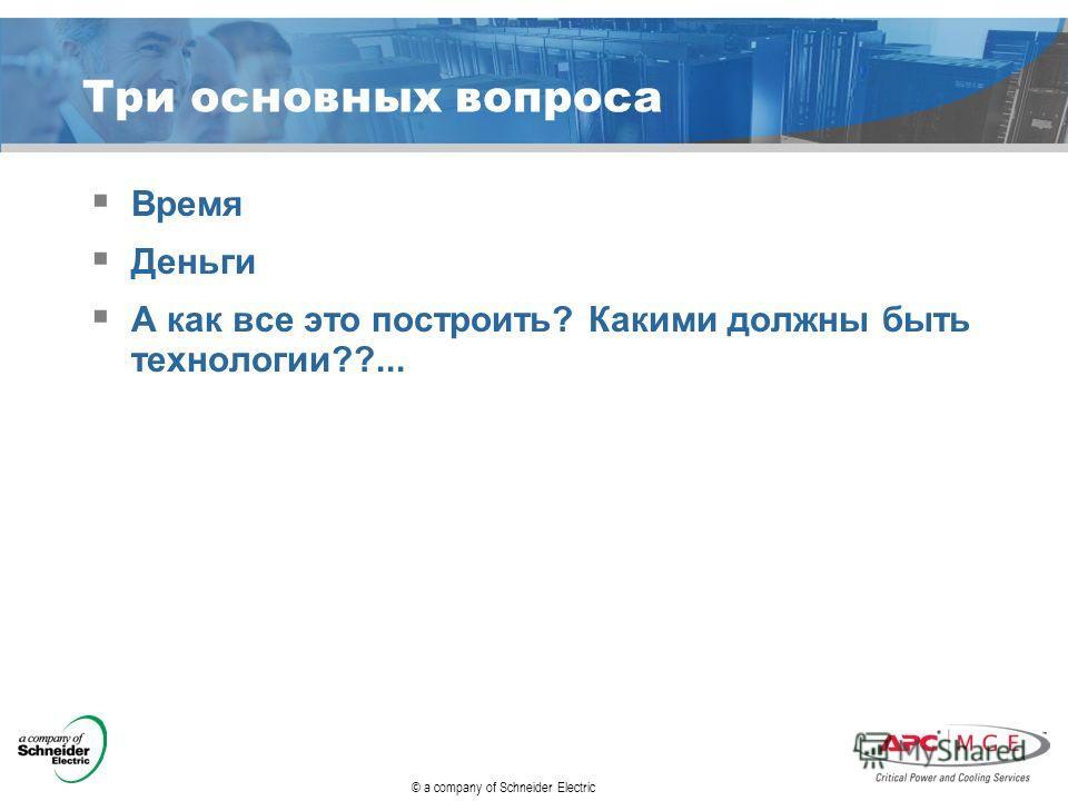 © a company of Schneider Electric Три основных вопроса Время Деньги А как все это построить? Какими должны быть технологии??...