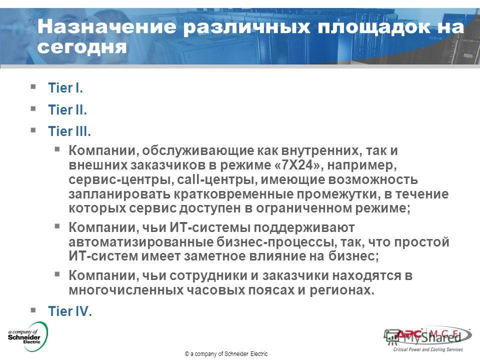 © a company of Schneider Electric Назначение различных площадок на сегодня Tier I. Tier II. Tier III. Компании, обслуживающие как внутренних, так и внешних заказчиков в режиме «7Х24», например, сервис-центры, call-центры, имеющие возможность запланир