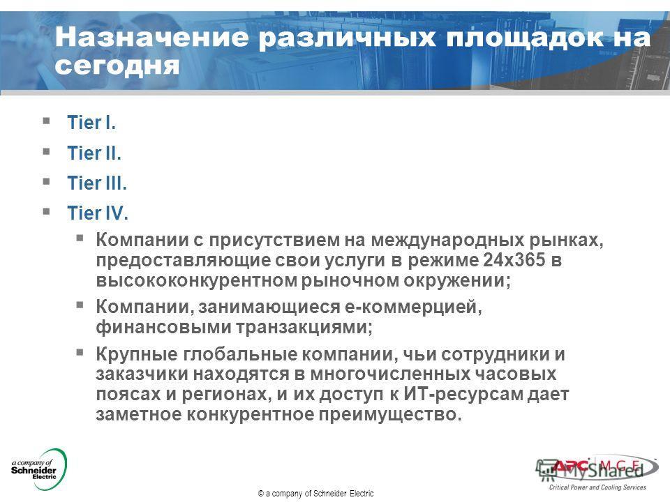 © a company of Schneider Electric Назначение различных площадок на сегодня Tier I. Tier II. Tier III. Tier IV. Компании с присутствием на международных рынках, предоставляющие свои услуги в режиме 24 х 365 в высококонкурентном рыночном окружении; Ком