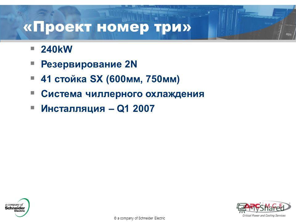 «Проект номер три» 240kW Резервирование 2N 41 стойка SX (600 мм, 750 мм) Система чиллерного охлаждения Инсталляция – Q1 2007