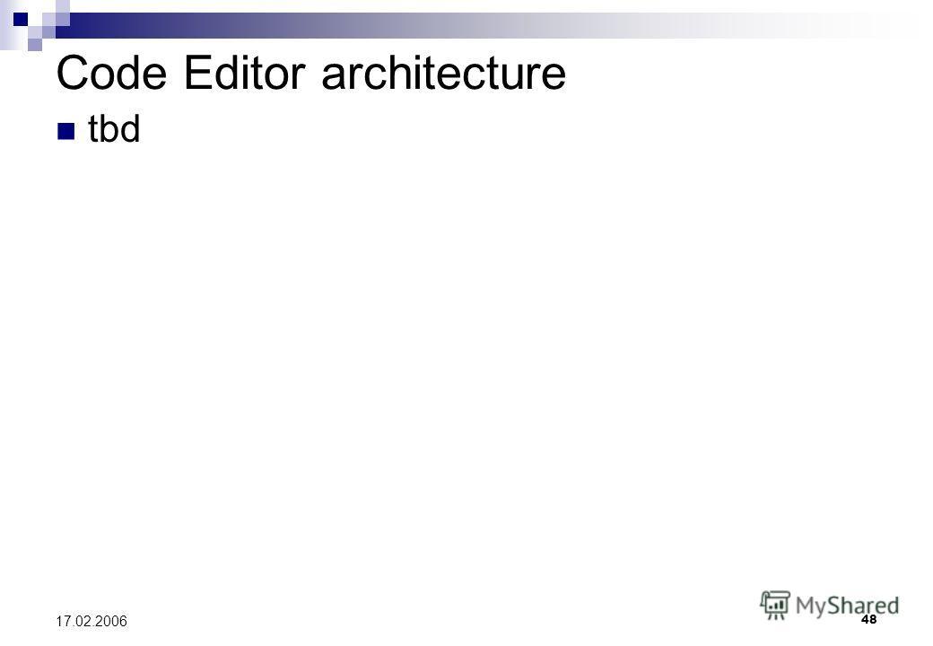 48 17.02.2006 Code Editor architecture tbd