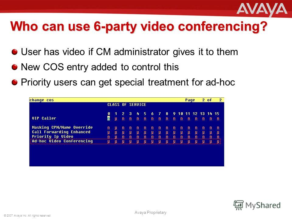 © 2007 Avaya Inc. All rights reserved. Avaya Proprietary Who can use 6-party video conferencing? User has video if CM administrator gives it to them New COS entry added to control this Priority users can get special treatment for ad-hoc