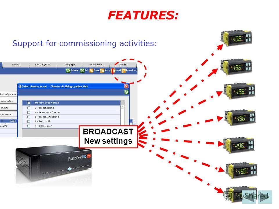 Support for commissioning activities: FEATURES: BROADCAST New settings