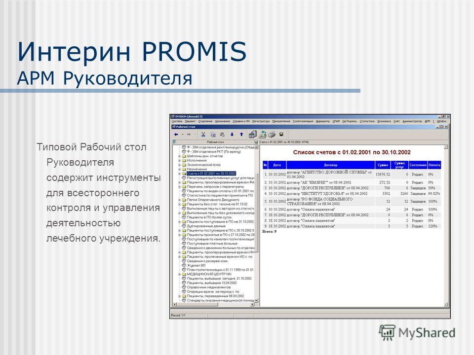 Интерин PROMIS АРМ Руководителя Типовой Рабочий стол Руководителя содержит инструменты для всестороннего контроля и управления деятельностью лечебного учреждения.
