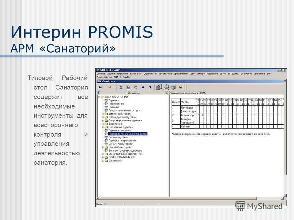 Интерин PROMIS АРМ «Санаторий» Типовой Рабочий стол Санатория содержит все необходимые инструменты для всестороннего контроля и управления деятельностью санатория.