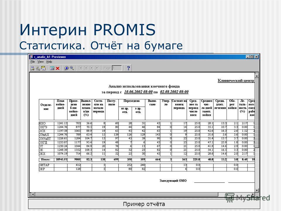Интерин PROMIS Статистика. Отчёт на бумаге Пример отчёта