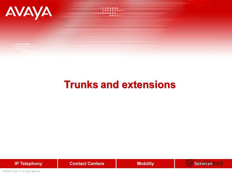 © 2006 Avaya Inc. All rights reserved. Trunks and extensions