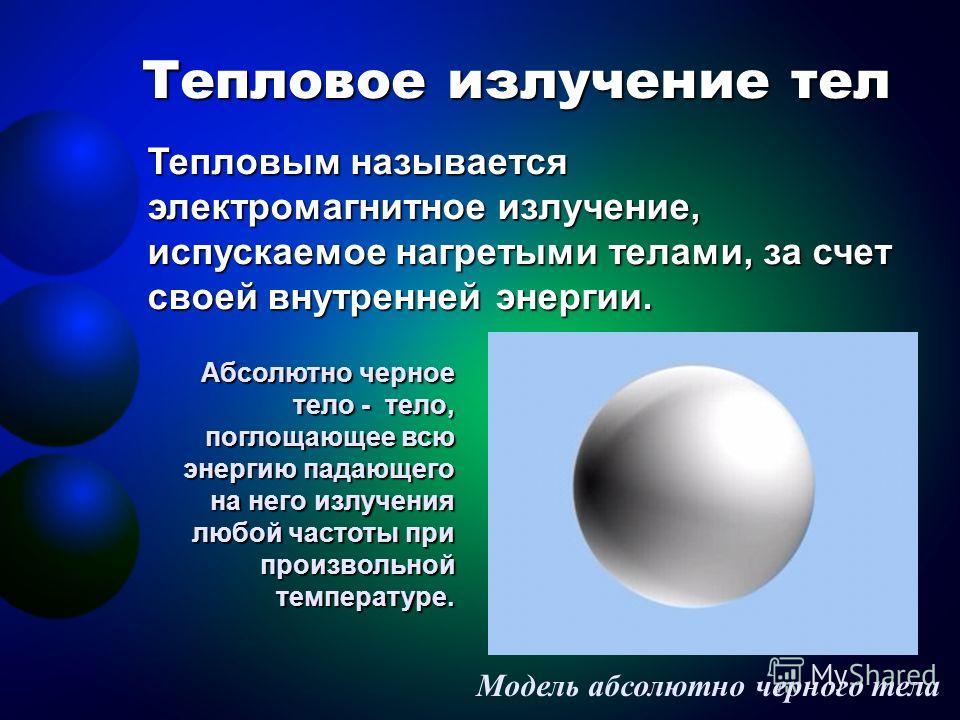 Тепловое излучение тел Модель абсолютно черного тела Тепловым называется электромагнитное излучение, испускаемое нагретыми телами, за счет своей внутренней энергии. Абсолютно черное тело - тело, поглощающее всю энергию падающего на него излучения люб