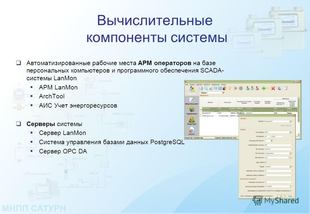 Вычислительные компоненты системы Автоматизированные рабочие места АРМ операторов на базе персональных компьютеров и программного обеспечения SCADA- системы LanMon АРМ LanMon ArchTool АИС Учет энергоресурсов Серверы системы Сервер LanMon Система упра