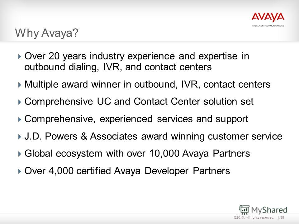 ©2010. All rights reserved. Why Avaya? Over 20 years industry experience and expertise in outbound dialing, IVR, and contact centers Multiple award winner in outbound, IVR, contact centers Comprehensive UC and Contact Center solution set Comprehensiv