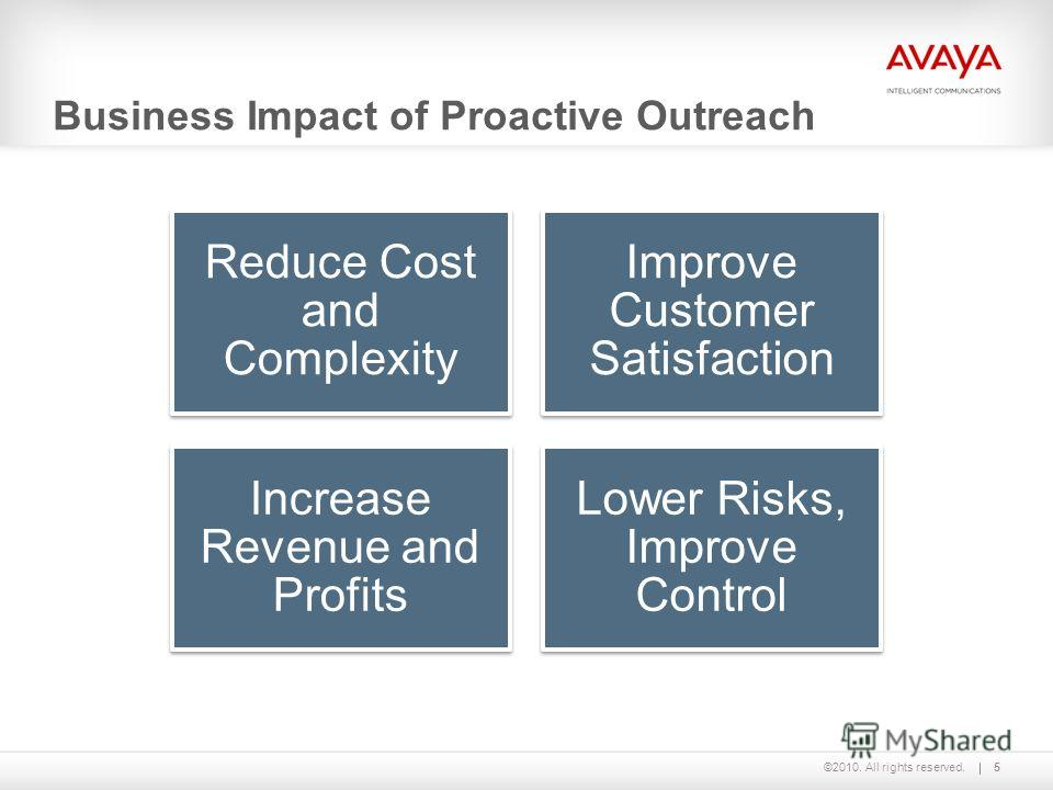 ©2010. All rights reserved. Business Impact of Proactive Outreach 5 Reduce Cost and Complexity Improve Customer Satisfaction Increase Revenue and Profits Lower Risks, Improve Control