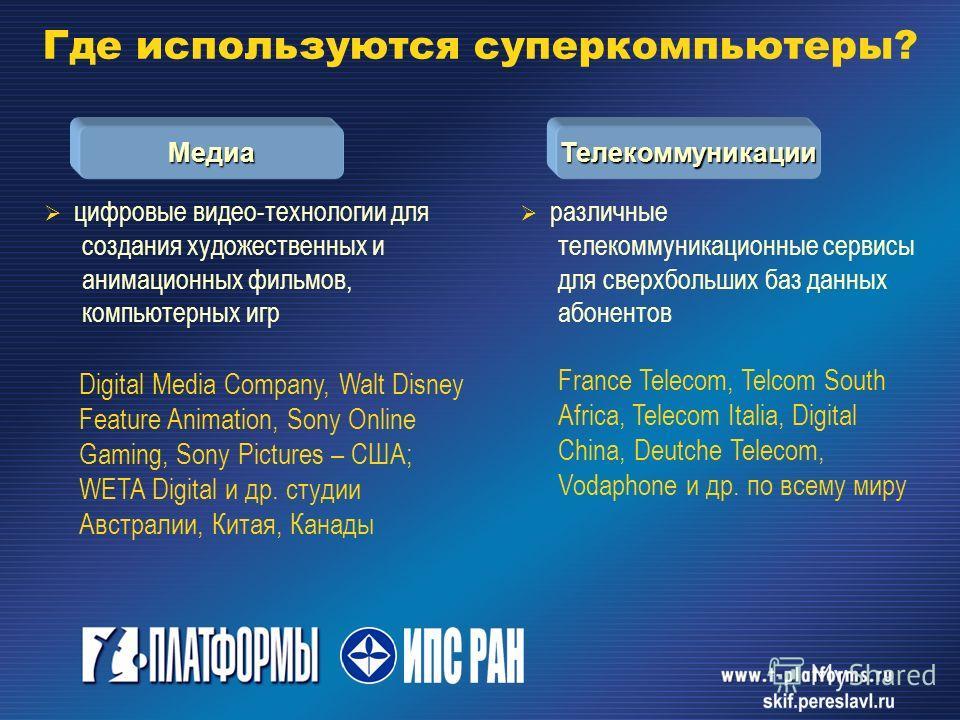 цифровые видео-технологии для создания художественных и анимационных фильмов, компьютерных игр Digital Media Company, Walt Disney Feature Animation, Sony Online Gaming, Sony Pictures – США; WETA Digital и др. студии Австралии, Китая, Канады различные