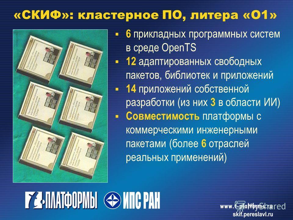 6 прикладных программных систем в среде OpenTS 12 адаптированных свободных пакетов, библиотек и приложений 14 приложений собственной разработки (из них 3 в области ИИ) Совместимость платформы с коммерческими инженерными пакетами (более 6 отраслей реа