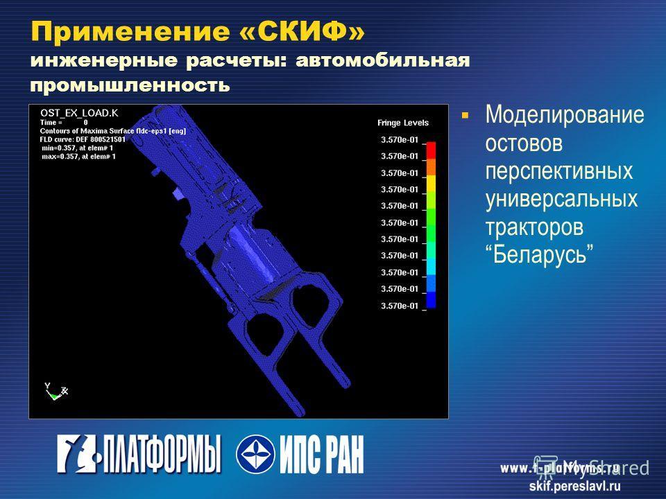Моделирование остовов перспективных универсальных тракторов Беларусь Применение «СКИФ» инженерные расчеты: автомобильная промышленность