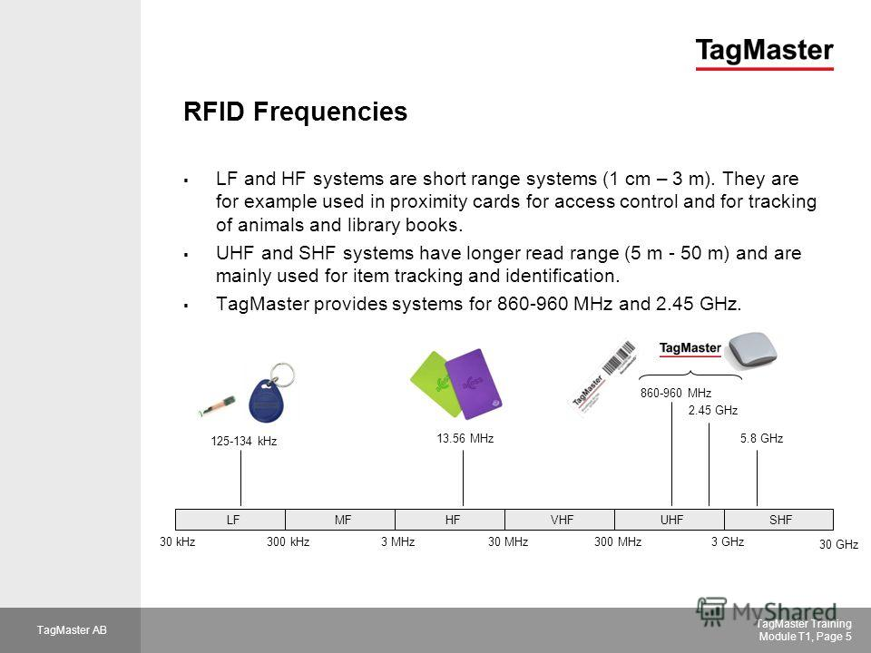 TagMaster AB TagMaster Training Module T1, Page 5 RFID Frequencies LF and HF systems are short range systems (1 cm – 3 m). They are for example used in proximity cards for access control and for tracking of animals and library books. UHF and SHF syst