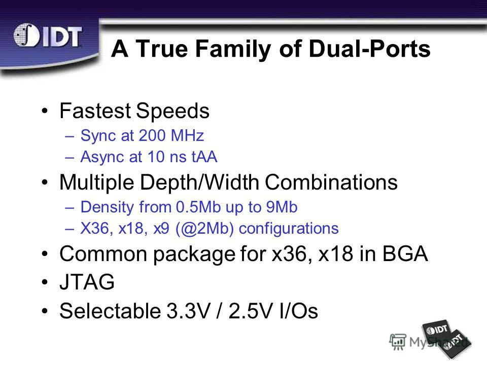 A True Family of Dual-Ports Fastest Speeds –Sync at 200 MHz –Async at 10 ns tAA Multiple Depth/Width Combinations –Density from 0.5Mb up to 9Mb –X36, x18, x9 (@2Mb) configurations Common package for x36, x18 in BGA JTAG Selectable 3.3V / 2.5V I/Os