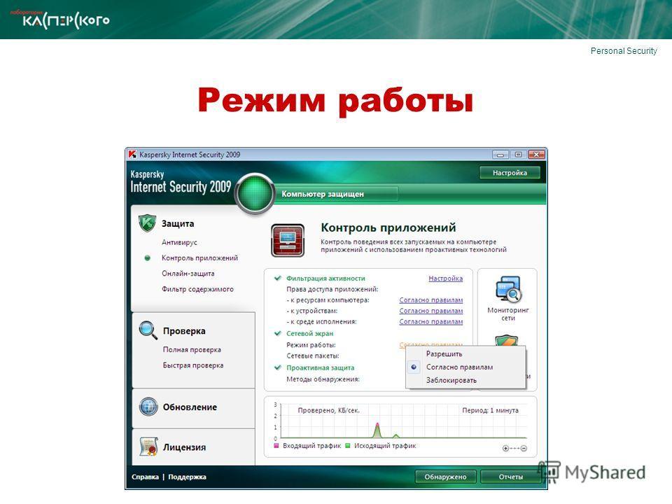 Personal Security Режим работы