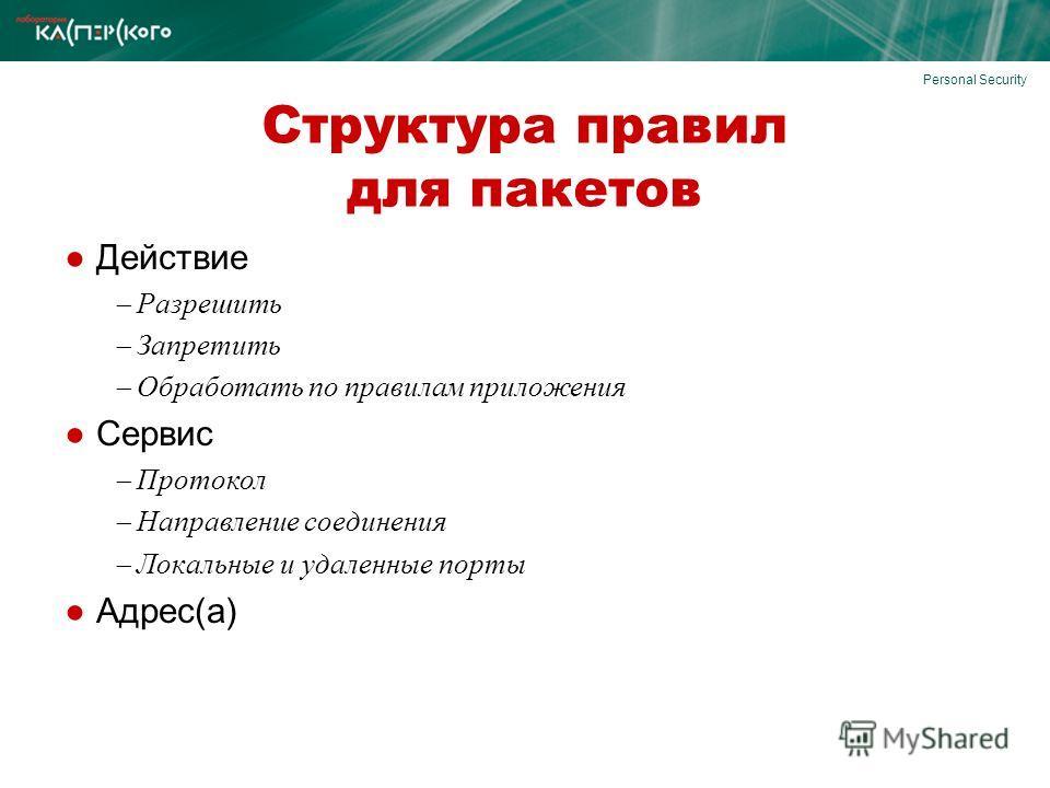 Personal Security Структура правил для пакетов Действие Разрешить Запретить Обработать по правилам приложения Сервис Протокол Направление соединения Локальные и удаленные порты Адрес(а)