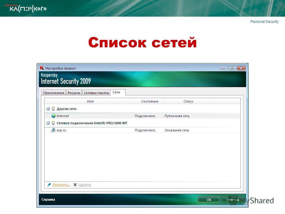 Personal Security Список сетей