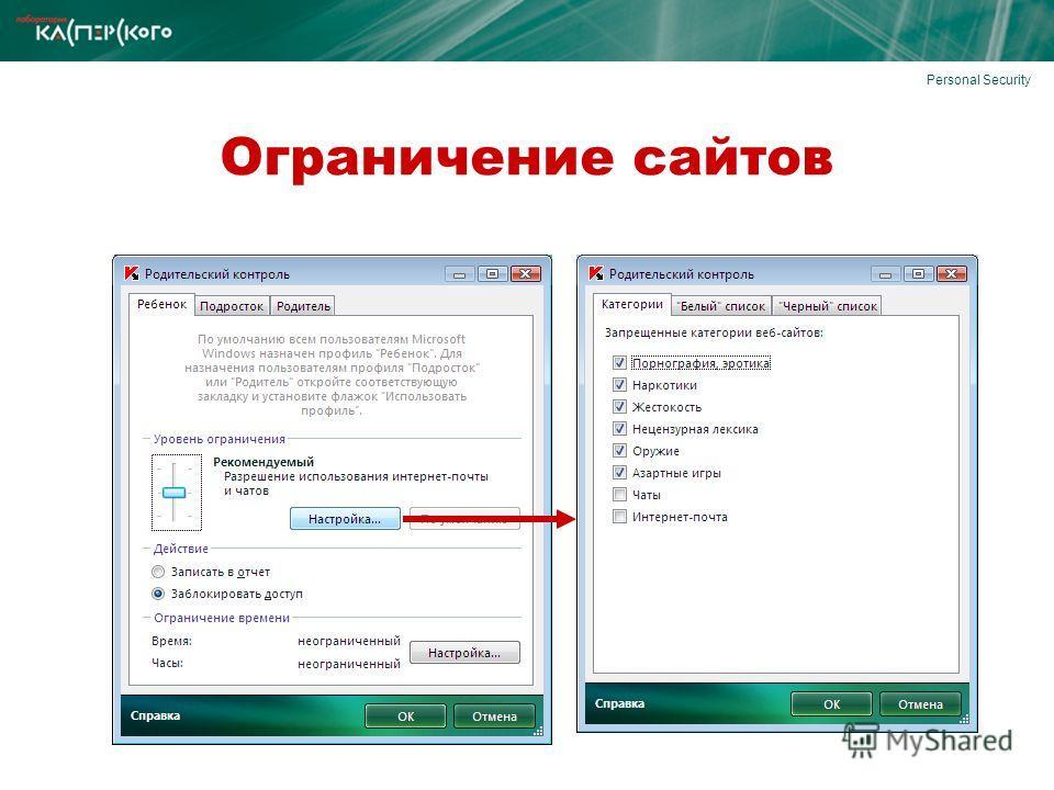 Personal Security Ограничение сайтов
