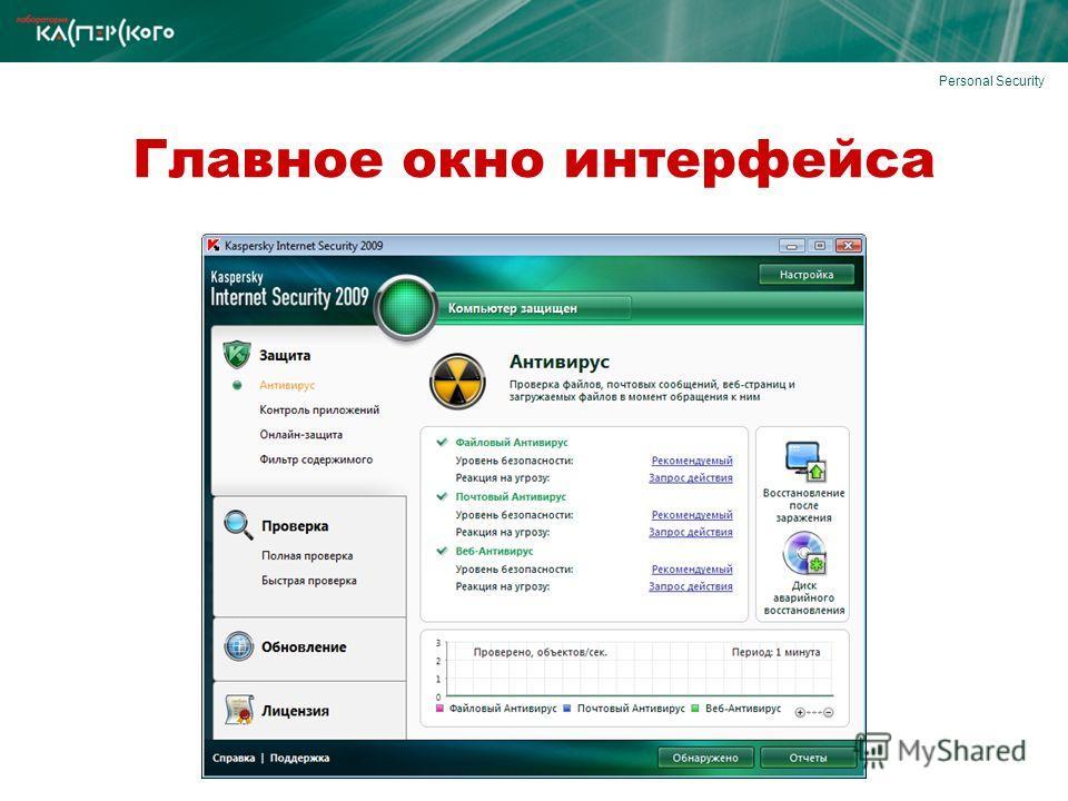 Personal Security Главное окно интерфейса