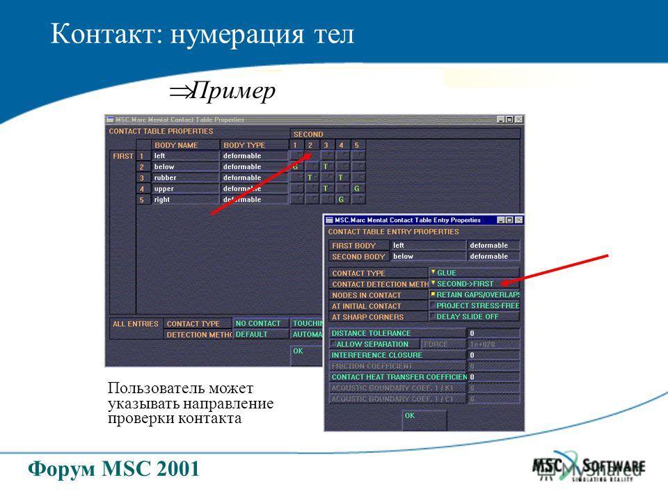 Форум MSC 2001 Контакт: нумерация тел Пример Пользователь может указывать направление проверки контакта