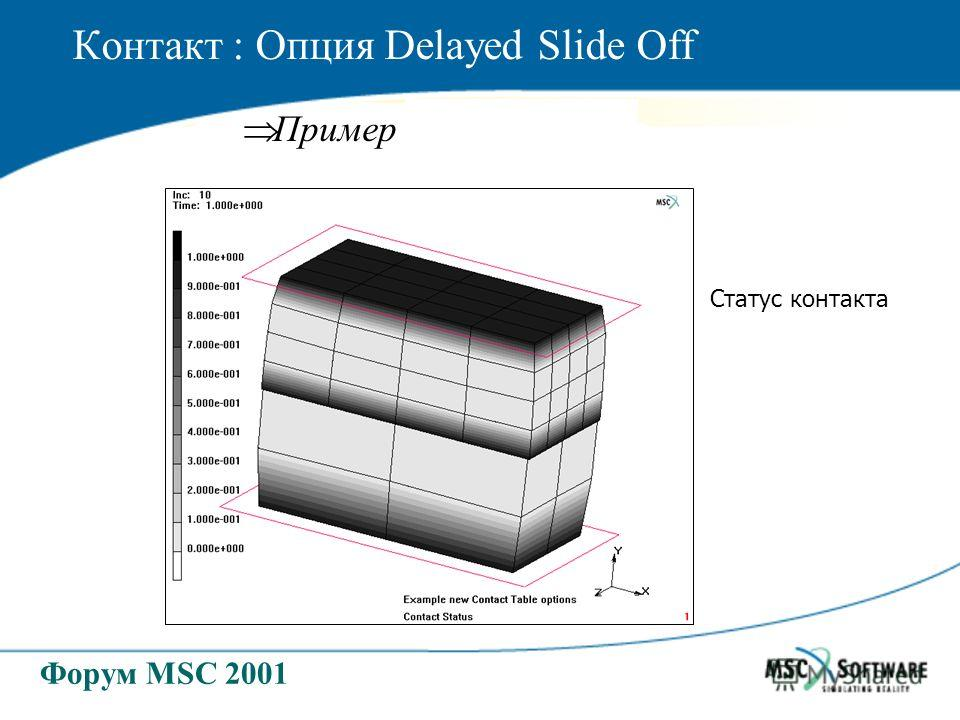 Форум MSC 2001 Контакт : Опция Delayed Slide Off Пример Статус контакта