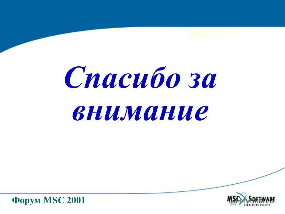 Форум MSC 2001 Спасибо за внимание