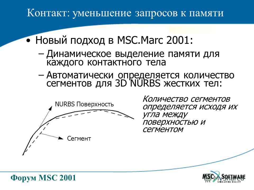 Форум MSC 2001 Новый подход в MSC.Marc 2001: –Динамическое выделение памяти для каждого контактного тела –Автоматически определяется количество сегментов для 3D NURBS жестких тел: NURBS Поверхность Сегмент Количество сегментов определяется исходя их
