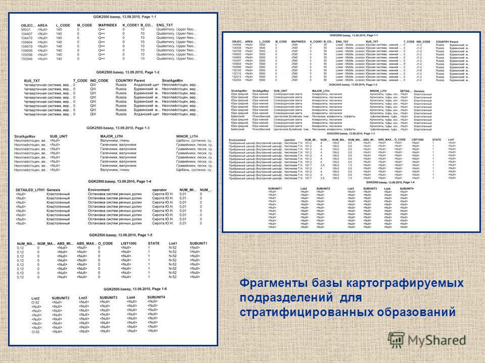 Фрагменты базы картографируемых подразделений для стратифицированных образований