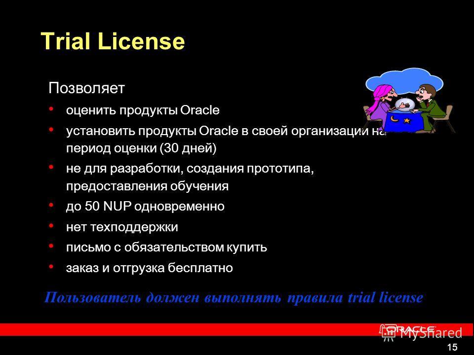 15 Trial License Позволяет оценить продукты Oracle установить продукты Oracle в своей организации на период оценки (30 дней) не для разработки, создания прототипа, предоставления обучения до 50 NUP одновременно нет техподдержки письмо с обязательство