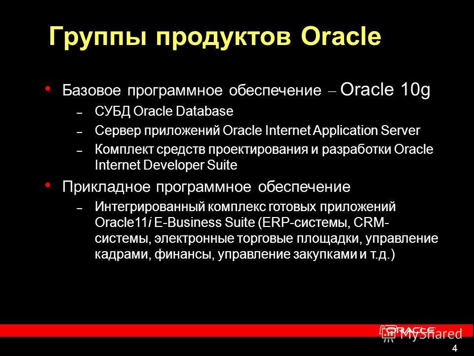 4 Группы продуктов Oracle Базовое программное обеспечение – Oracle 10g – СУБД Oracle Database – Сервер приложений Oracle Internet Application Server – Комплект средств проектирования и разработки Oracle Internet Developer Suite Прикладное программное