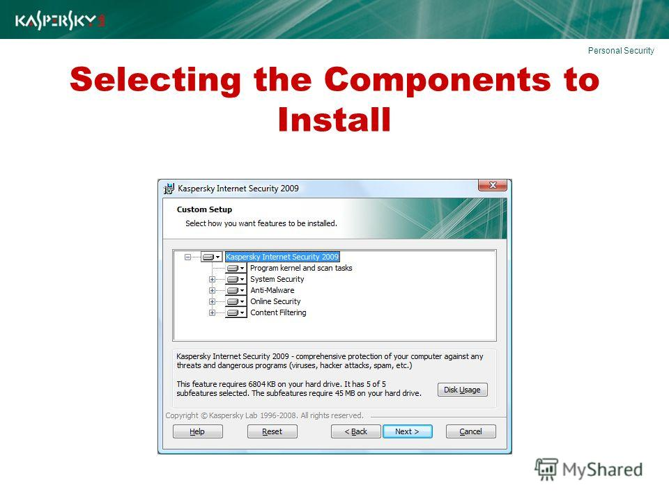 Selecting the Components to Install Personal Security