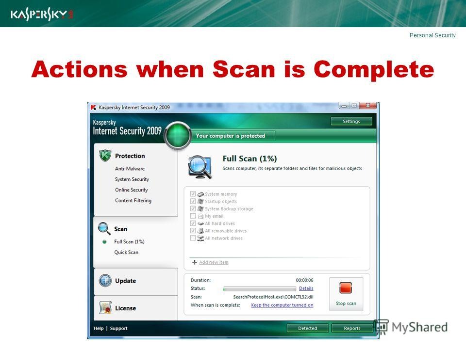 Actions when Scan is Complete Personal Security