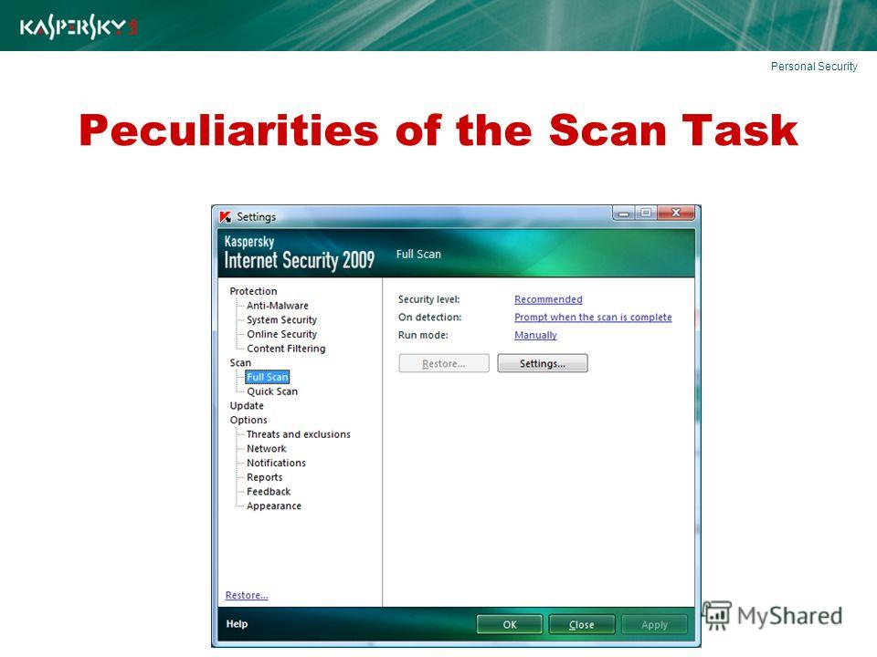 Peculiarities of the Scan Task Personal Security