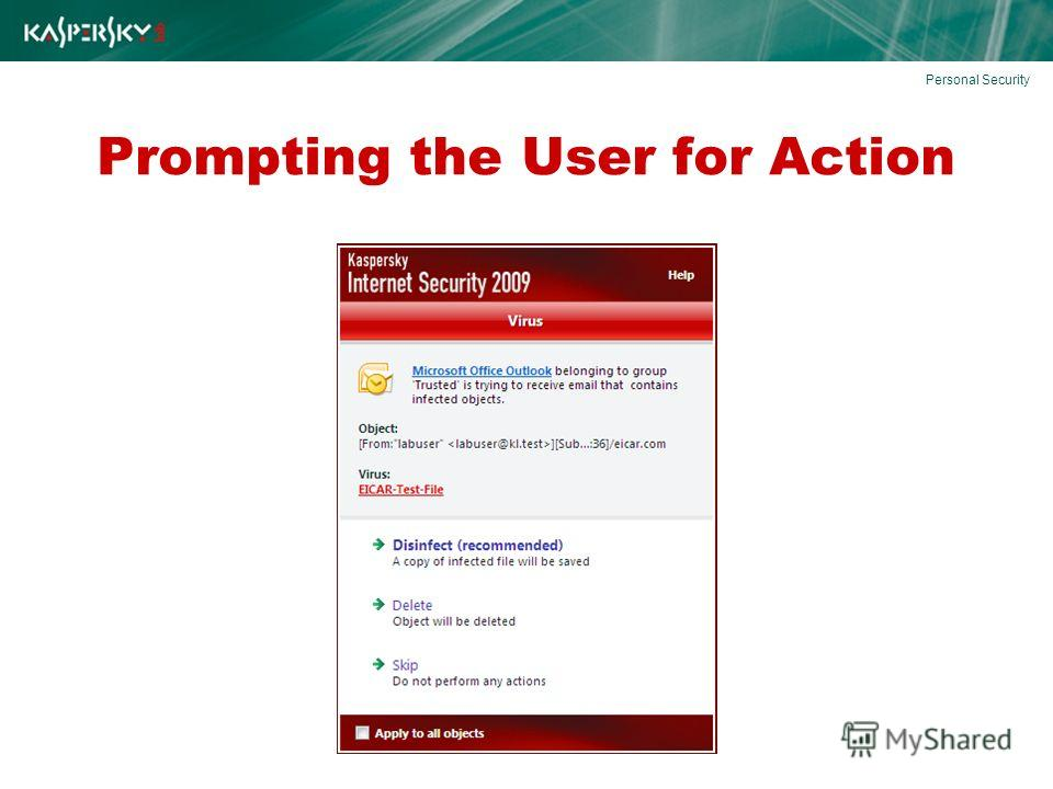 Prompting the User for Action Personal Security