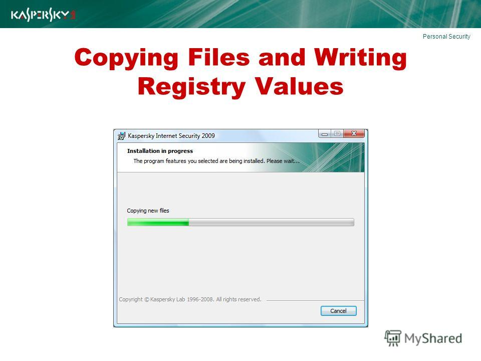 Copying Files and Writing Registry Values Personal Security