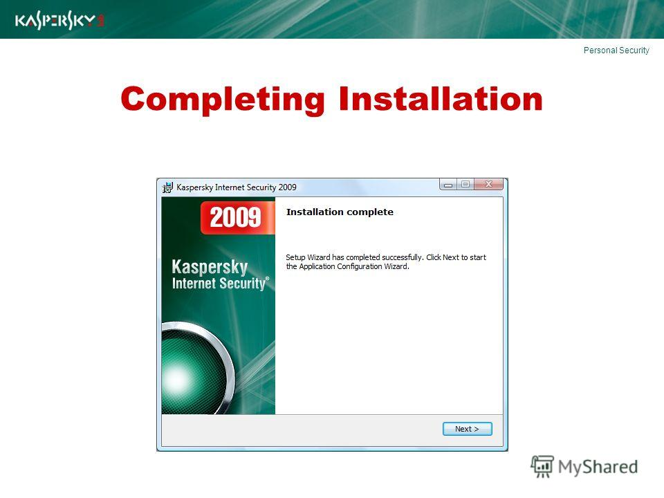 Completing Installation Personal Security