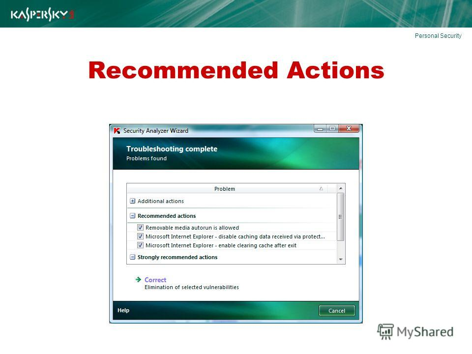 Recommended Actions Personal Security