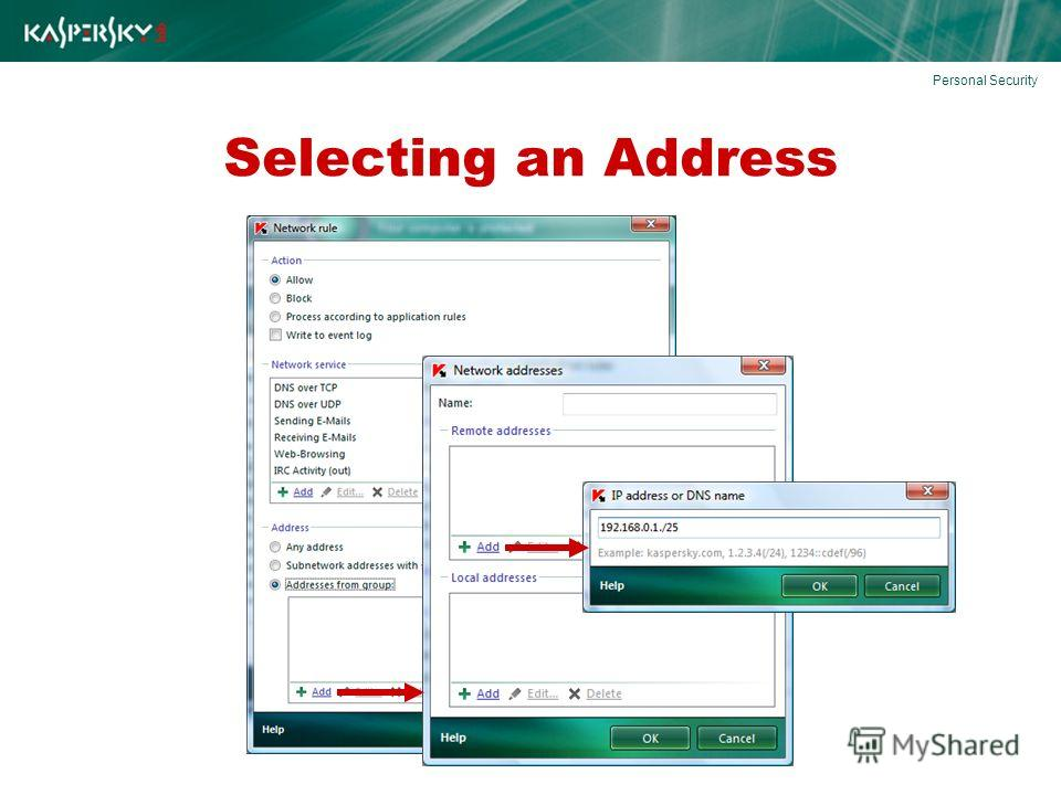 Selecting an Address Personal Security