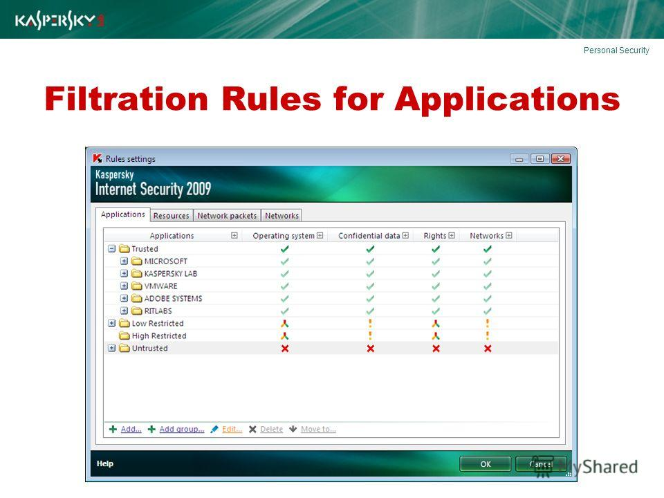 Filtration Rules for Applications Personal Security