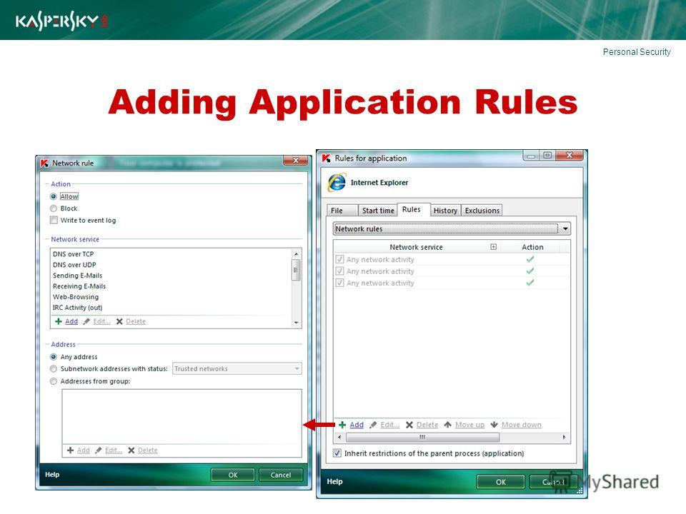Adding Application Rules Personal Security