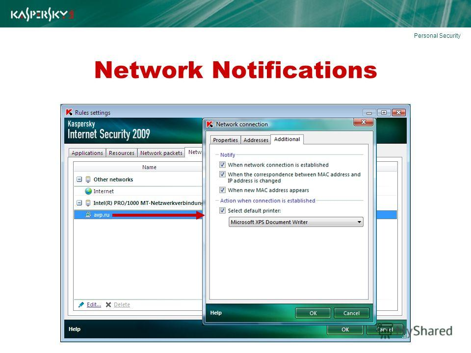 Network Notifications Personal Security